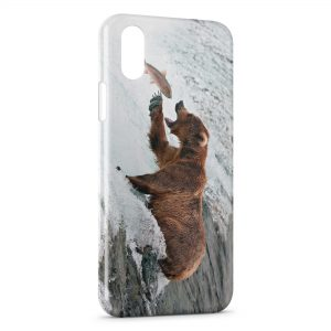 Coque iPhone X & XS Ours Brun & Poisson