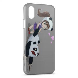 Coque iPhone X & XS Petite Fille & Panda