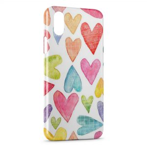 Coque iPhone X & XS Petits Coeurs Painted