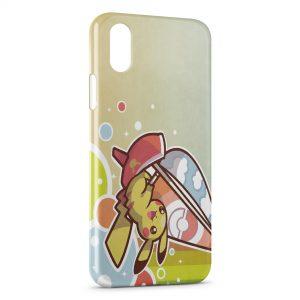 Coque iPhone X & XS Pikachu Pokemon Planche a Voile