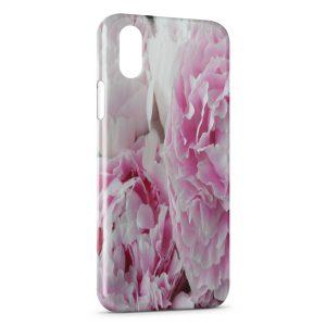 Coque iPhone X & XS Pivoine Fleur Rose