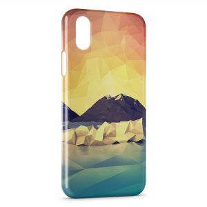 Coque iPhone X & XS Pixel Design Montagne