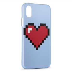 Coque iPhone X & XS Pixel Heart Love