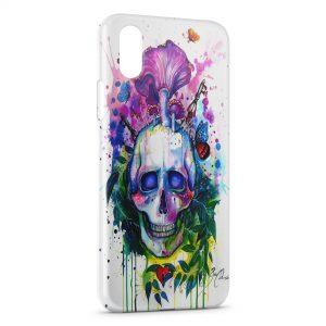 Coque iPhone X & XS Psychedelic Skull paint