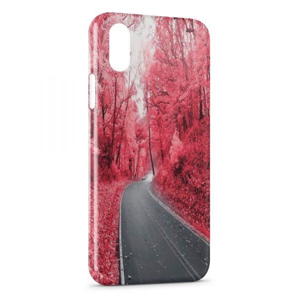 Coque iPhone X & XS Road & Red Forest