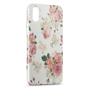 Coque iPhone X & XS Rose vintage