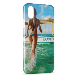 Coque iPhone X & XS Sexy Girl Beach