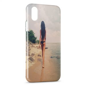 Coque iPhone X & XS Sexy Girl Beach Plage