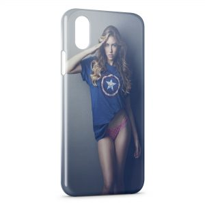 Coque iPhone X & XS Sexy Girl Captain America