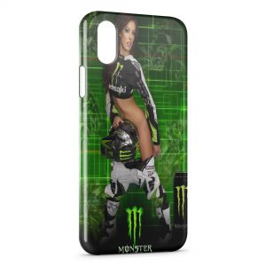 Coque iPhone X & XS Sexy Girl Monster Energy Green