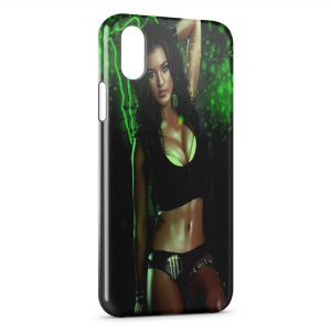 Coque iPhone X & XS Sexy Girl Monster Energy Green 2