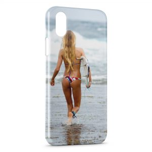 Coque iPhone X & XS Sexy Girl Surf 3