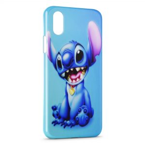 Coque iPhone X & XS Stitch Blue Background