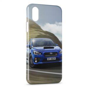 Coque iPhone X & XS Subaru Blue Voiture