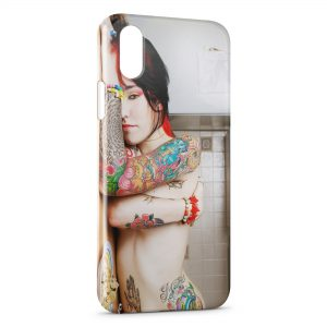 Coque iPhone X & XS Tatouage Fille Sexy 2