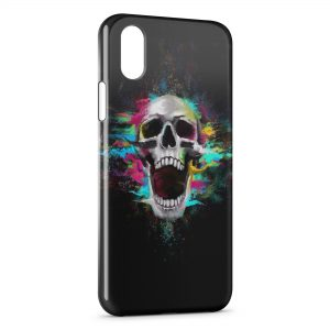 Coque iPhone X & XS Tete de Mort Colors in Black