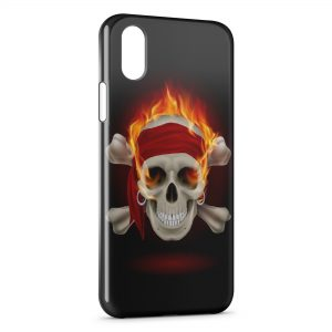 Coque iPhone X & XS Tete de Mort Fire 4