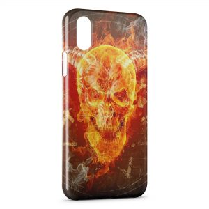 Coque iPhone X & XS Tete de Mort Fire Feu