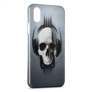 Coque iPhone X & XS Tete de mort Music