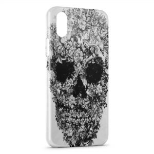 Coque iPhone X & XS Tete de mort flower Design