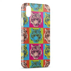 Coque iPhone X & XS Tiger Style Art Multicolor