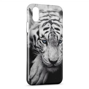 Coque iPhone X & XS Tiger White & Blue Eyes