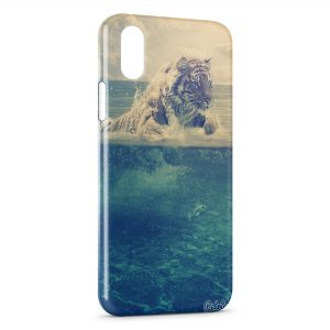 Coque iPhone X & XS Tiger in the Sea