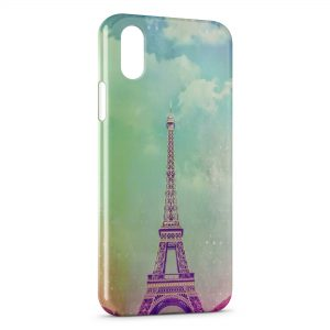 Coque iPhone X & XS Tour Eiffel Vintage Art