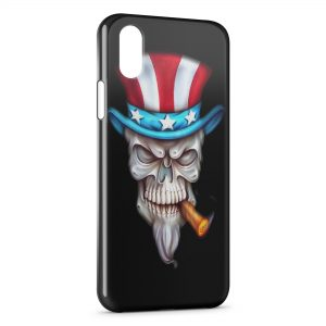 Coque iPhone X & XS USA Tete de Mort I Want You
