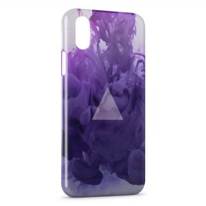 Coque iPhone X & XS Violet Pyramide