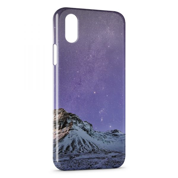 Coque iPhone X & XS Violet Sky & Moutain