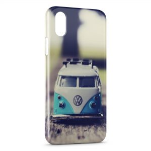 Coque iPhone X & XS Volkswagon Van Blue Vintage