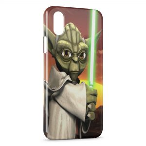 Coque iPhone X & XS Yoda Star Wars Anime Green