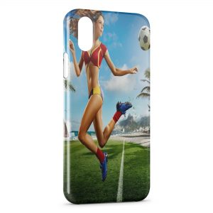 Coque iPhone X & XS sexy girl football