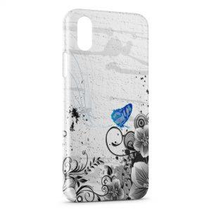 Coque iPhone XR Fleurs et Papillons