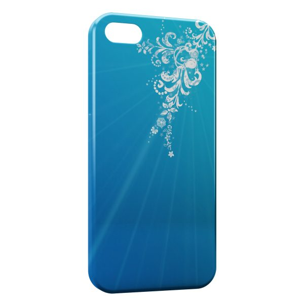 Coque iPhone 4 & 4S Blue Style & White Flowers