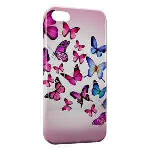 Coque iPhone 4 & 4S Butterflies Pink & Blue