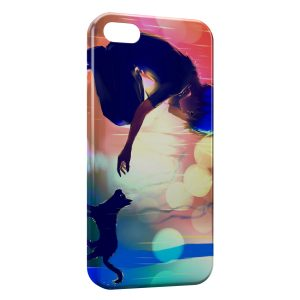 Coque iPhone 4 & 4S Cat & Girl Cute Manga