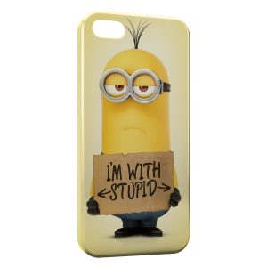 Coque iPhone 4 & 4S Minion I am with Stupid