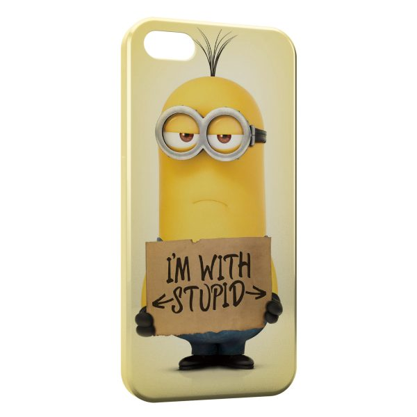 Coque iPhone 4 4S Minion I am with Stupid 600x600