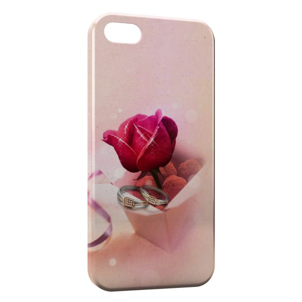 Coque iPhone 4 & 4S Rose & Bagues