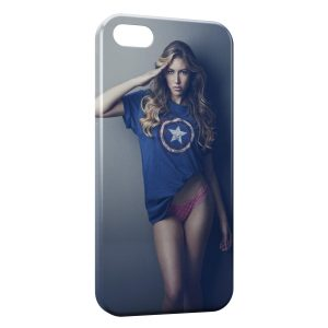 Coque iPhone 4 & 4S Sexy Girl Captain America