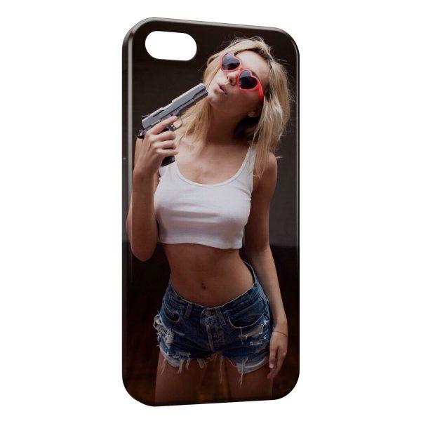 Coque iPhone 4 & 4S Sexy Girl & Gun 2