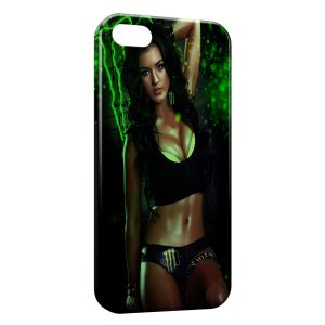 Coque iPhone 4 & 4S Sexy Girl Monster Energy Green 2