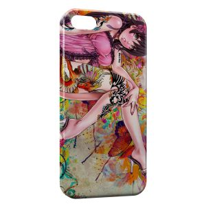 Coque iPhone 4 & 4S Sexy Manga Girl Colofull