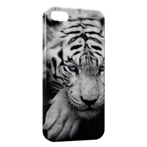 Coque iPhone 4 & 4S Tiger White & Blue Eyes