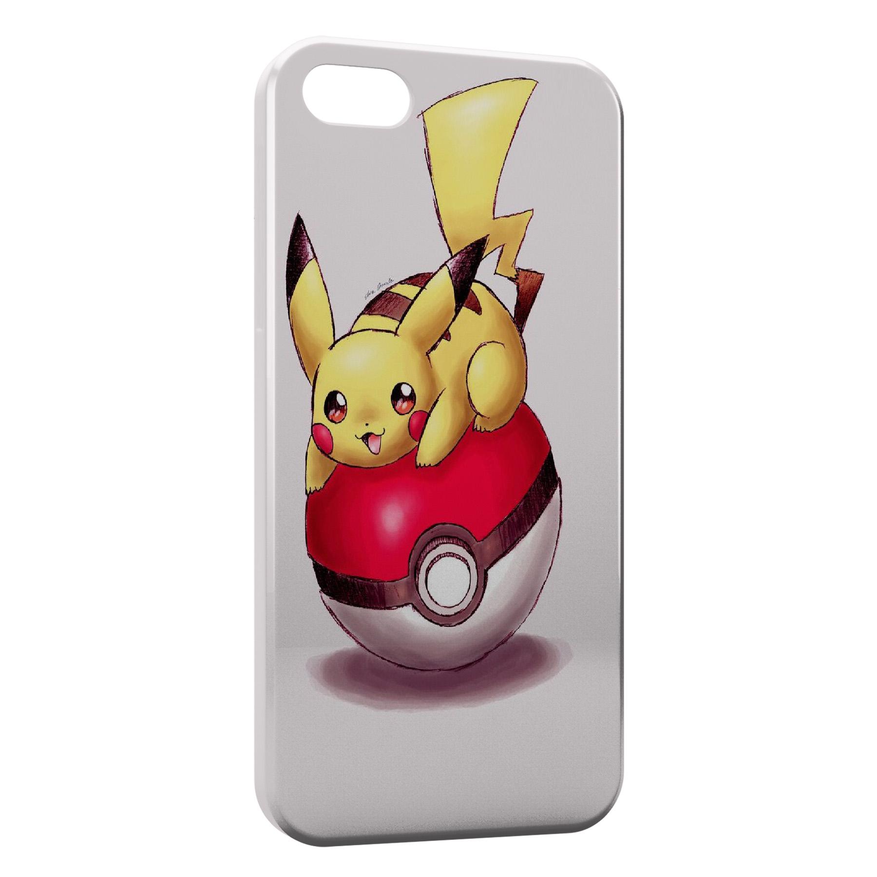 Coque iPhone 6 6S Pikachu Pokeball Pokemon Dessin
