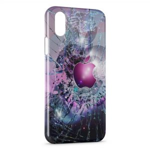 Coque iPhone XR Apple Pink Brisé