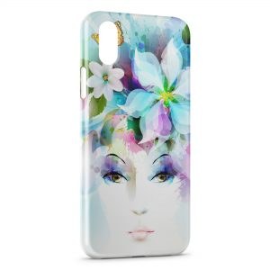 Coque iPhone XR Art Girl Eyes Flowers Petals Butterfly