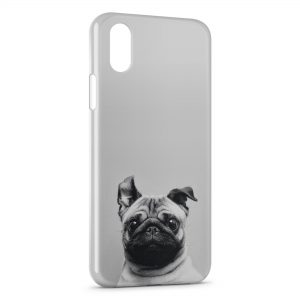 Coque iPhone XR Chien Bulldog Cute Black White